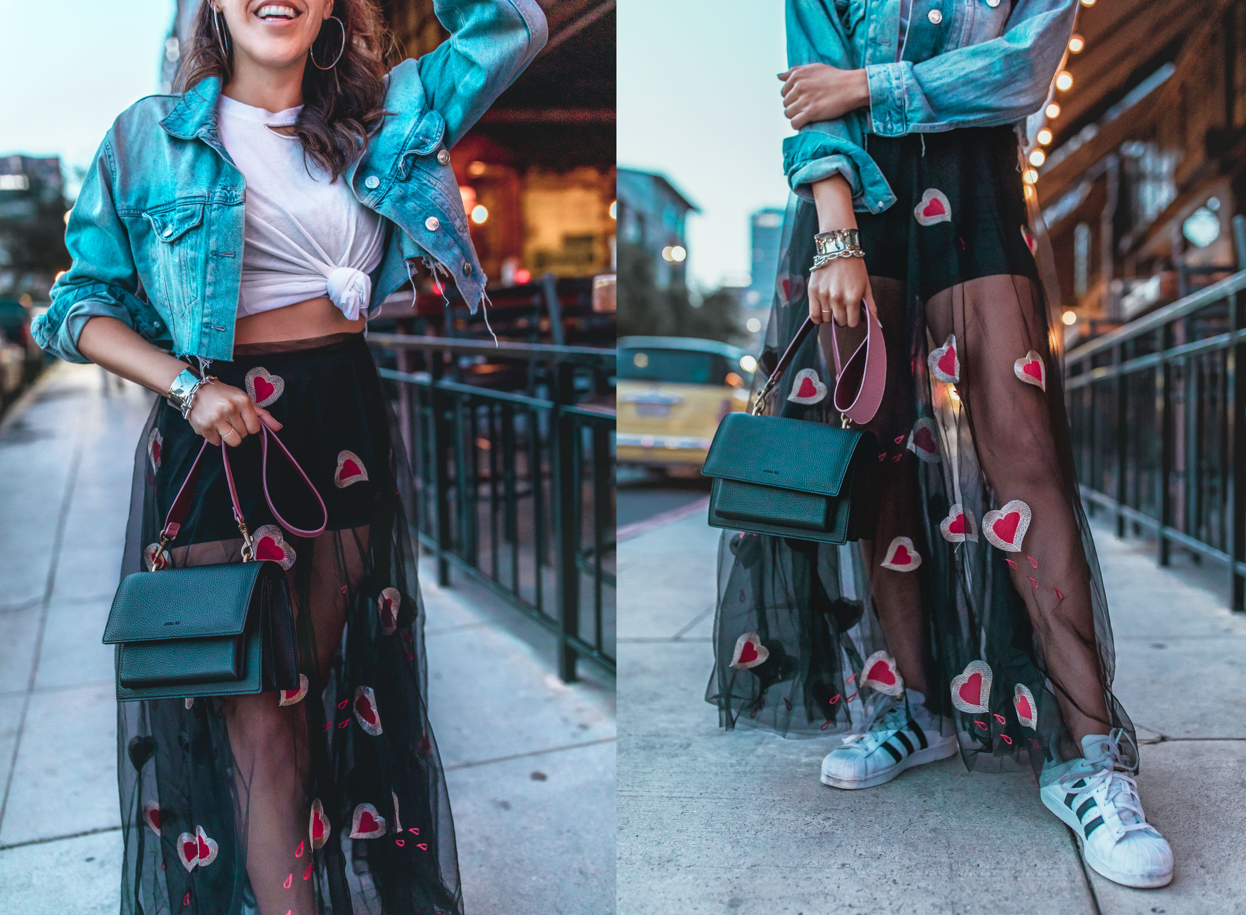 Transitional sheer + Denim outfit in Downtown San Diego